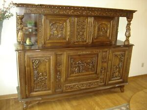 From Europe Early 1900 S A Brittany Sideboard Bar Cabinet Oak Wood Carved