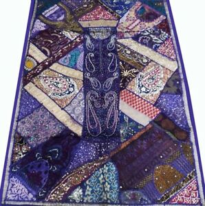 33 Off 60 Purple Vintage Handicrafted Embroidered Zari Wall Hanging Tapestry