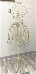 Very Rare Antique Metal Wire Dress Form Mannequin Store Display Stand Decorative
