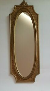 Florentine Syroco Oval Gold Gilt Frame Floral Wall Hanging Mirror Ornate