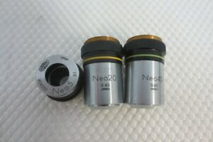 Lot Of 3 Olympus Microscope Objectives Metallurgical Neo 40 20 5 25mm Thread