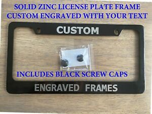New Listingcustom Engraved Solid Heavy Zinc License Plate Frame 2 Sizes Available