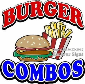Burger Combo Decal choose Your Size Food Truck Sign Concession Vinyl Sticker
