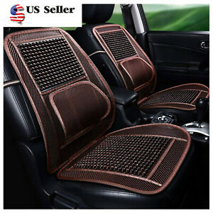 1pcs Massage Breathable Car Seat Cover Wooden Beaded Seat Cushion Office Brown