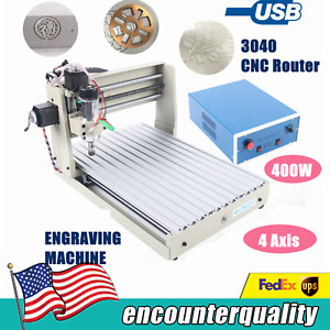 Usb 4axis 400w 3040 Cnc Router 3d Engraver Wood Pcb Engraving Milling Machine Us