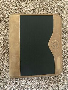 Franklin Covey Green Line Black Brown Leather Planner Binder Zip Compact 1 25