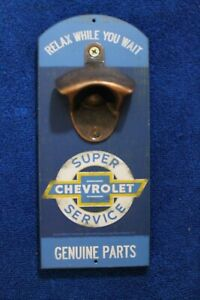 Chevy Bowtie Genuine Parts Wall Mount With Bottle Opener Accessory Truck Gm