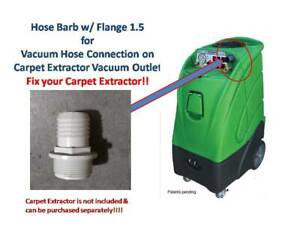 1 5 Vacuum Hose Barb W Flange Truck Mount Portable Extractor Carpet Clean Whi