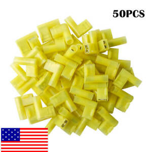 50pcs Yellow 90 Degree Nylon Flag Female Insulated Disconnect Terminal Connector