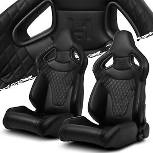 Black Stitching C Series Pvc Reclinable Left Right Racing Seats Pair W Slider