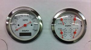 Dolphin 3 3 8 Quad Pro White Street Rod Gauge Set Street Rod Hot Rod Universal