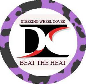 Cool Cow Purple Blk Steering Wheel Cover Goodquality