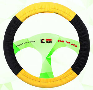 Nice Steering Wheel Cover Yellow Blk Goodquality Soft