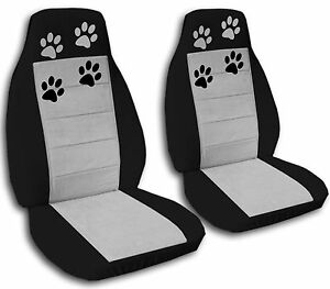 2 Cute Paw Prints Car Seat Covers Blk silver Cool nice