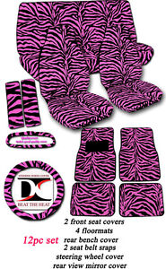 12 Piece Set Zebra Pink Velvet Seat Covers With Accessories