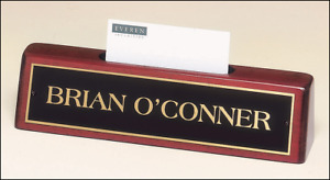 Desk Name Plate Business Card Holder Mahogany Finish T 541 Free Engraving