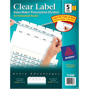 Avery 11436 Index Maker Clear Label Dividers 2 Packs