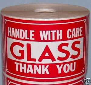 50 3x5 Fragile Glass Handle With Care Label Sticker