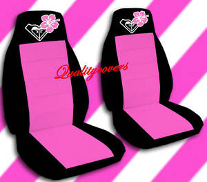 2 Front Black And Hot Pink Hibiscus Seat Covers