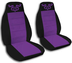 2 Front Velvet Black And Purple Heartagram Seat Covers Universal Size