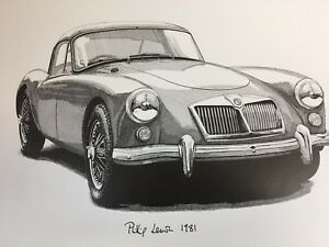 Mga Coupe Pen Ink Print By Phillip Lemon Great Gift Mga 1500 1600 Twin Cam
