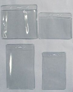 200 Clear Badge Id Holder 4 Sizes Available Horizontal or Vertical U pick