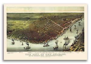 1885 New Orleans Lousiana Vintage Old Panoramic City Map 16x24