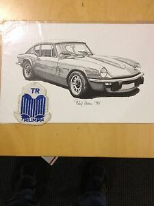 Triumph Gt6 Coupe Pen Ink Print With Triumph Embroidered Patch Blue White