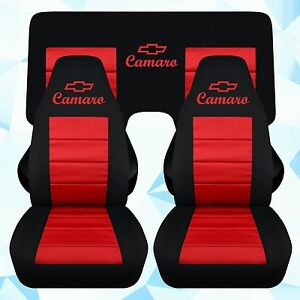Fits 82 92 Chevy Camaro Car Seat Covers Front 3 Piece Rear Bench In Black Red