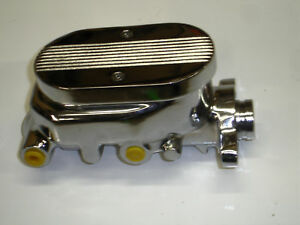 Gm Style Chrome Aluminum Ball Milled Master Cylinder Left Exit 1 Bore