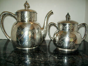 Victorian Pairpoint Silver Plated Holland Teapot Sugar Bowl