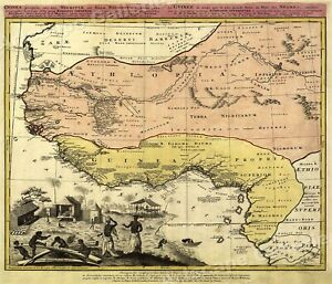 1743 West African Old World Map Guinea Ethiopia 24x28
