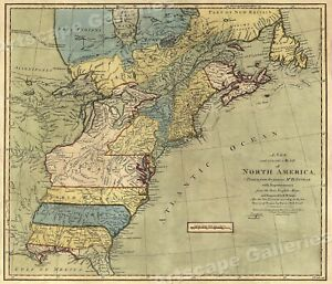 North America 1771 Colonial Map 13 Colonies 20x24