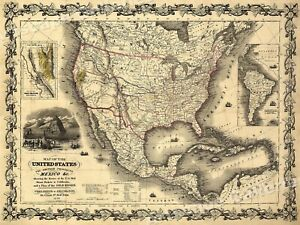 1840s Map Of The Us British Provinces Mexico Map Poster 18x24
