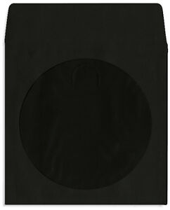 1000 pak black Colored Paper Cd dvd Sleeves With Window Flap
