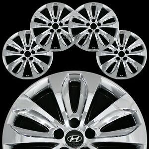 Set Of 4 Fits Hyundai Sonata 11 12 13 Chrome 18 Wheel Skins Hub Caps Rim Covers