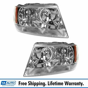 Headlights Headlamps Left Right Pair Set For 99 04 Jeep Grand Cherokee Limited