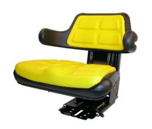 Yellow Seat W Adjust Angle Base Tracks suspenion Fits John Deere Tractor
