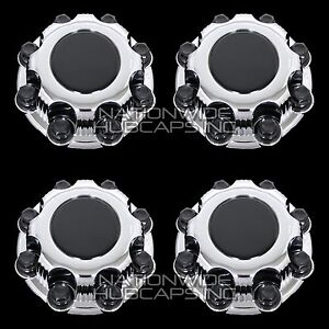 4 Chevy Gmc 8 Lug Chrome Wheel Center Hub Caps Bolt Covers Fit Alloy
