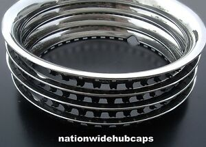 4 New Ford 14 Stainless Trim Rings Beauty Bands Glamour Wheel Steel Rims Wheels