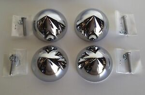4 Bullet Nose Dome Bullet Hub Cap Custom Centers New Chrome C8059