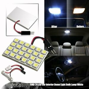 1x Universal Bright White Smd 24 Led Dome Map Light With T10 And Festoon Adapter
