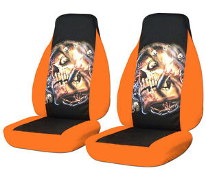 94 04 Ford Mustang Smoking Skull Front Car Seat Covers Orange Black So Cool