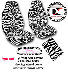 6 Piece Set White And Black Zebra Seat Covers Universal Size
