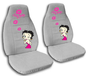 2 Front Silver Betty Boop Velvet Seat Covers Universal Size