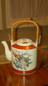 Vintage Hand Painted Satsuma Japan Peacock Teapot W Bamboo Handle Beautiful