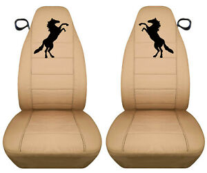 Fits 94 04 Ford Mustang Front Set Car Seat Covers Tan W blk Horse More In Store