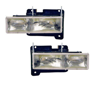 Pair Of Head Lights W Bulbs Left Right Fits 1988 1998 Chevy Gmc Pickup Truck