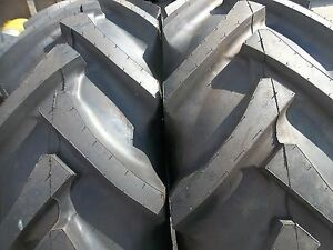 Two 16 9x24 Ford John Deere 8 Ply R 1 Bar Lug Tube Type Rear Tractor Tires