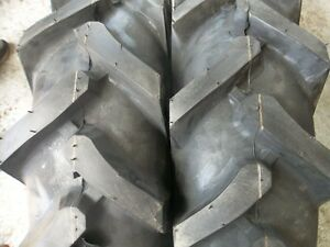 Two 750x16 750 16 Terramite Backhoe Deere Kubota 8 Ply R1 Bar Lug Tractor Tires